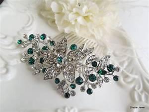 Vintage Style Green Leaf Rhinestone Bridal Hair Comb