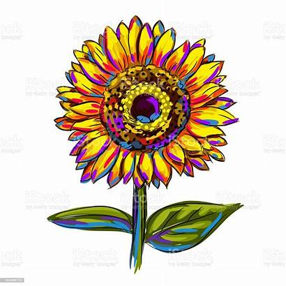 Sunflower Colorful Clip Sunflowers Painting Isolated Clipart
