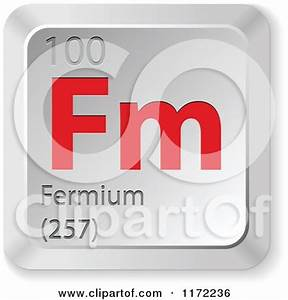 Clipart of a 3d Red and Silver Fermium Chemical Element ...