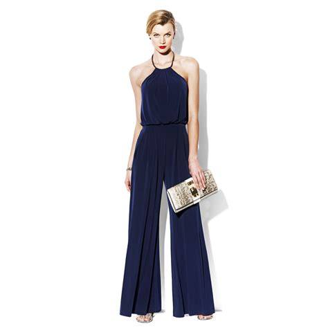 navy jumpsuit vince camuto jumpsuit with metal neckline in blue eclipse