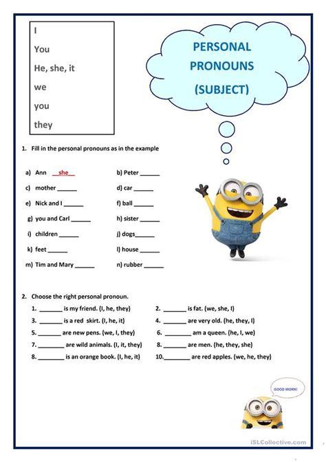 personal pronouns subject english esl worksheets