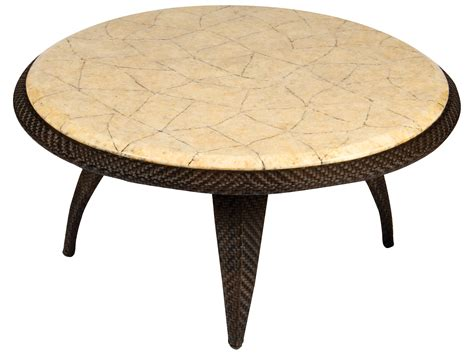 Whitecraft Bali Wicker 40 Round Stone Top Coffee Table