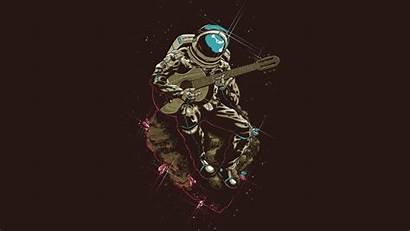 Guitar Astronaut Playing Artwork Minimalism Painting Gitar