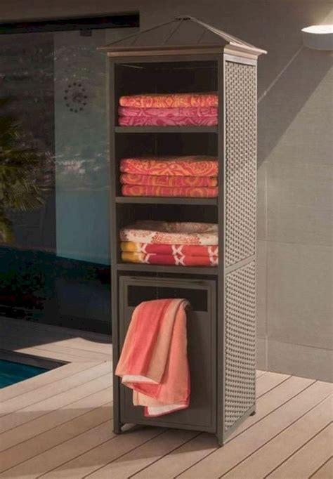 awesome pool furniture ideas pool towel storage pool