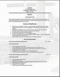 Landscaper Resume Landscaping Resume Occupational Examples Samples Free