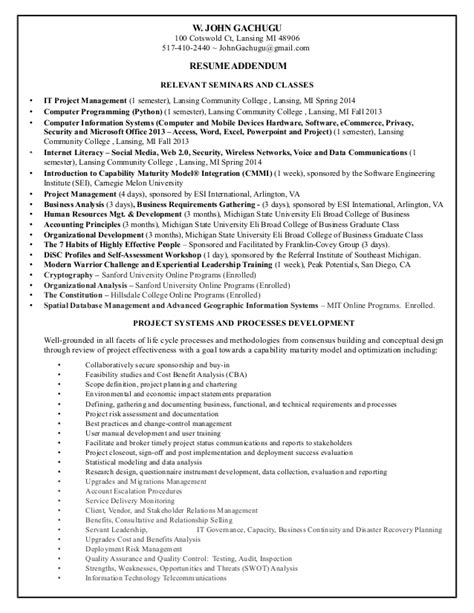 resume for gachugu project management