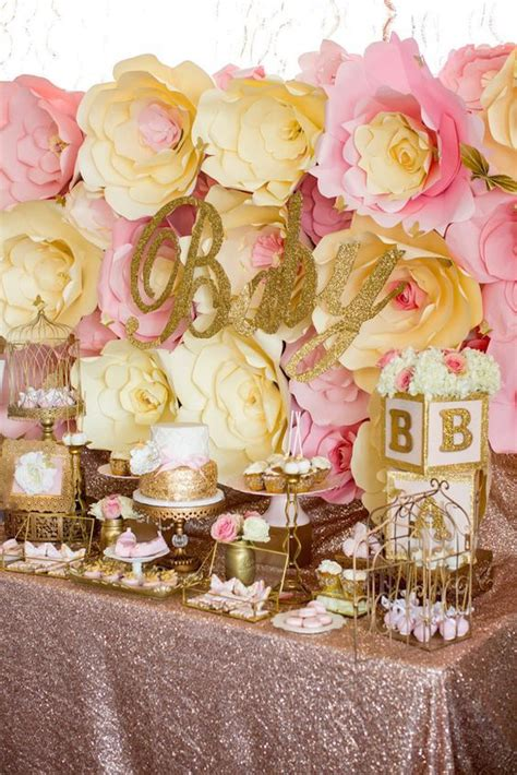 pink gold butterfly baby shower pictures