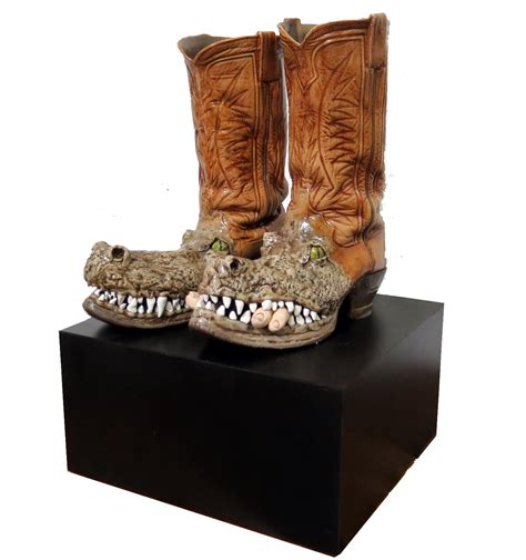 genuine alligator boots sculpture  bob howell modernism