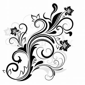 Black and white floral design element isolated on white
