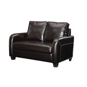 twin sleeper sofa espresso faux leather furniture
