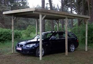 Abri voiture en bois autoclave de 3 x 5 m au toit plat en fibre de verre
