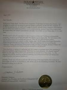 Texas College Acceptance Letter