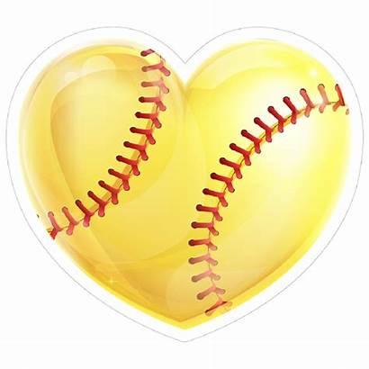 Softball Heart Yellow Shiny Sticker