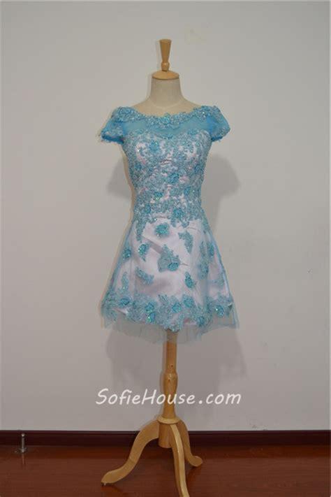 bateau neck short sleeve mini pink tulle blue lace