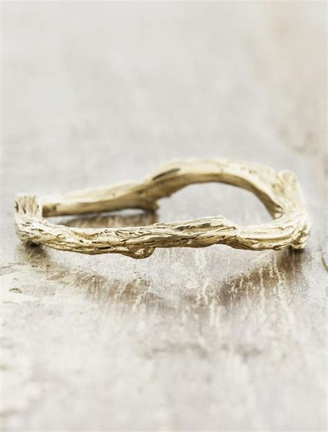 vine natural tree bark textured wedding ring ken dana