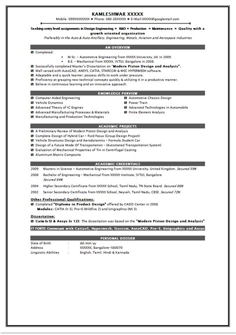 Format For Freshers Resume by Discover Resume Sles For Freshers Resume