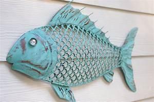 beach wall decor metal fish blue green patina With fish wall decor