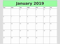 Download Printable January 2019 Calendar A4 Free