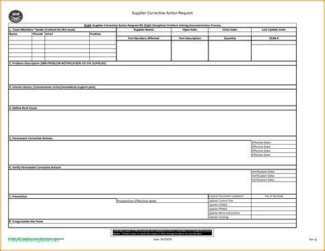 corrective action report template form genericresume