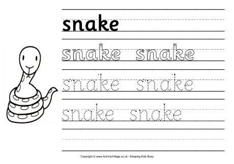 snake handwriting worksheet