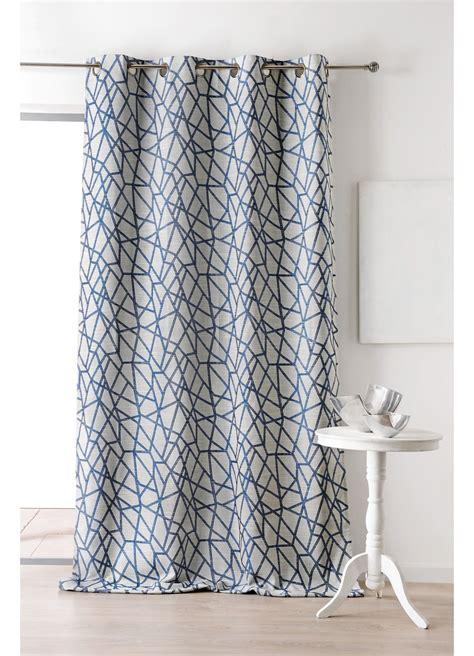 rideau en jacquard avec imprimes geometriques bleu