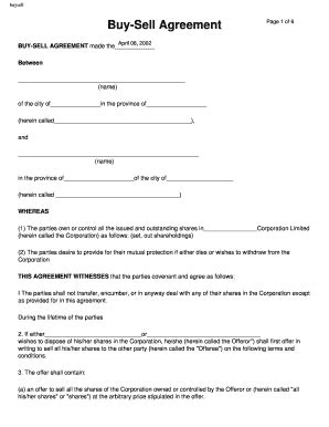 printable buy sell agreement forms  templates