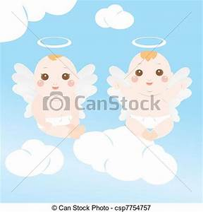 Vectors Illustration of two baby angel flying on the sky ...