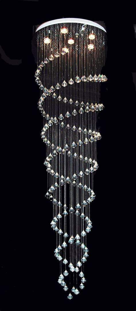Modern Chrome Orb Crystal Ribbon Pendant Chandelier