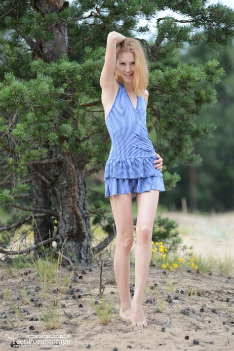 Nature Calls Her To Drop That Blue Dress And Show Off Some Of Her Teen Sexiness And Those Small