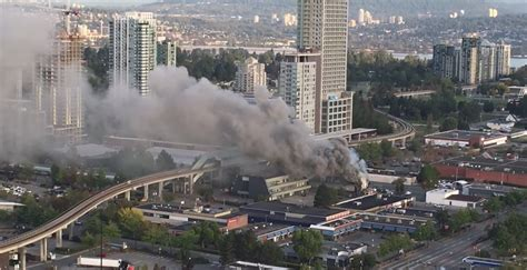 fire shuts  skytrains surrey central station news