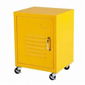 Table De Chevet Jaune : table de chevet roulettes en m tal jaune loft maisons du monde ~ Melissatoandfro.com Idées de Décoration