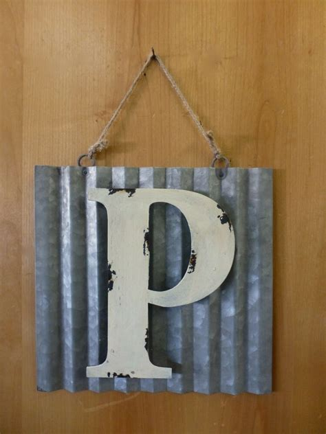 corrugated industrial metal sign letter p white vintage rustic wall decor ebay