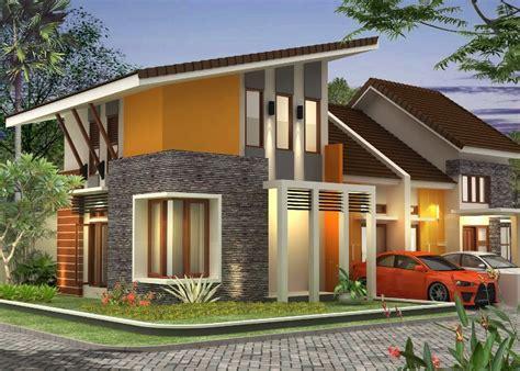 rumah minimalis atap miring  lantai gambar desain model