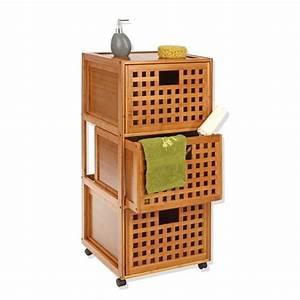 meuble bas 3 tiroirs quotbambouquot With meuble bas bambou salle de bain