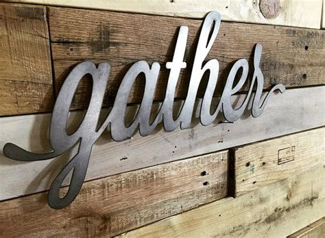 130cm x 18cm (51 x 7 inches)packing: Gather Together - Rustic Metal Script Words in 2020   Wall collage, Decor, Wall decor