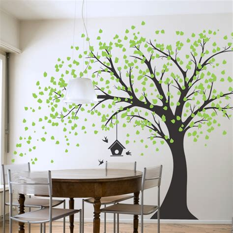 applique chambre bebe large windy tree with birdhouse wall decal
