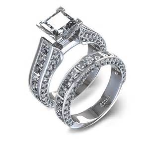 matching wedding ring sets channel set princess cut wedding set in 14k white gold