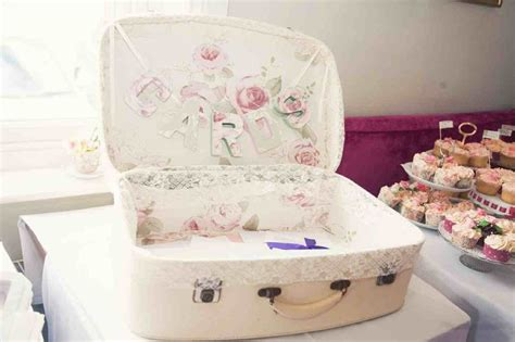 shabby chic suitcase wedding cards suitcase shabby chic lace floral wallpaper craft ideas pinterest