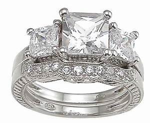 4 carat 925 sterling silver princess cut 3 stone wedding for Three stone wedding ring set