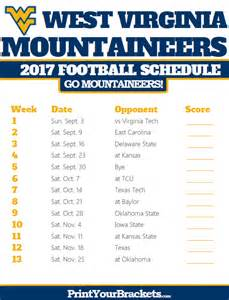 Printable West Virginia Football Schedule 2017