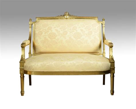 Style Settee by Louis Xvi Style Giltwood Two Seater Settee