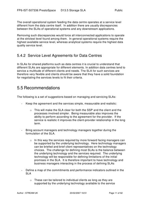 service level agreements  storage report  sample