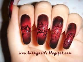 Bunny nails red and black gradation nail art