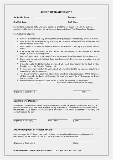 The amazing Employee Credit Card Agreement Template Word Uk Hartwick Regarding Credit Card Size