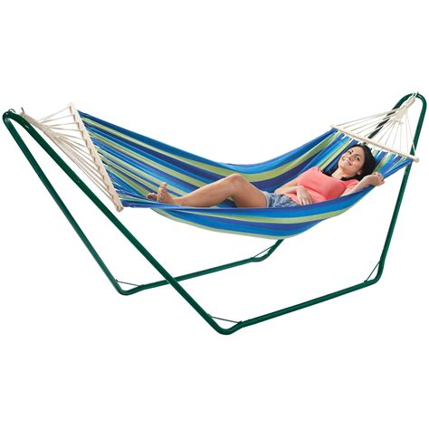 Hammock And Frame by Vonhaus Luxury Free Standing Swinging Garden Hammock With