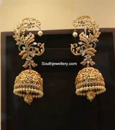 jhumki style earrings in gold kalyan jewellers jewelry designs jewellery designs