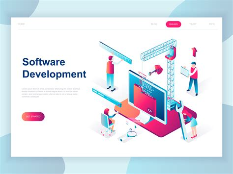software for web modern isometric software development web banner