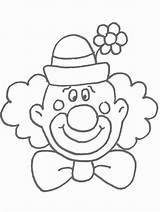 Clown Coloring Printable Clowns Face Template Circus sketch template