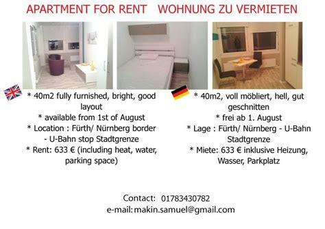 wohnung zu mieten in nürnberg wohnung zu vermieten 1 room fully furnished apartment for rent flat rent nuremberg