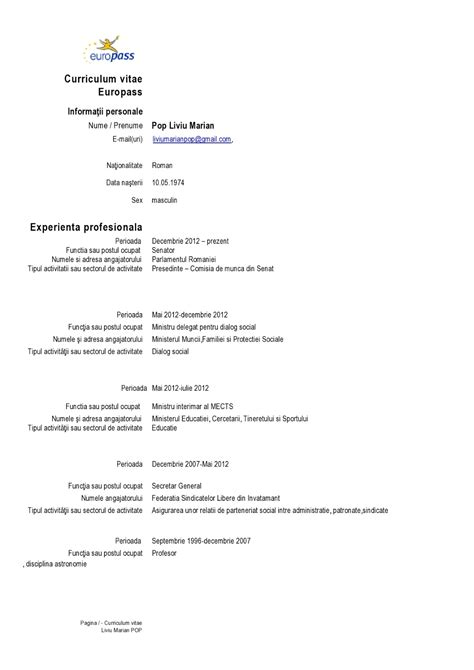 Cv Europass Model Completat Romana Example Good Resume Template